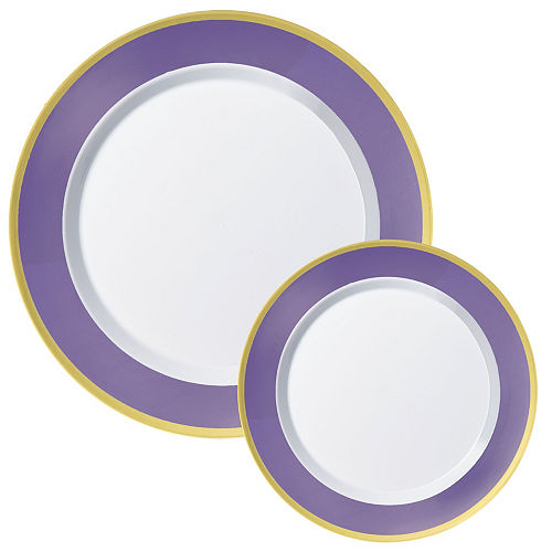 Premium Purple Border & Gold Tableware Kit for 20 Guests Image #2