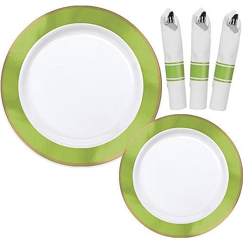 Premium Kiwi Green Border & Gold Tableware Kit for 20 Guests Image #1
