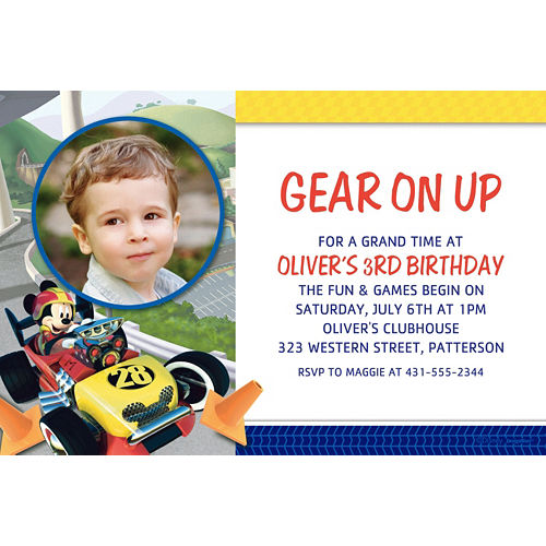 Custom Mickey & the Roadster Racers Photo Invitations  Image #1