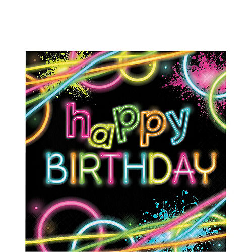 Neon Happy Birthday Lunch Napkins 16ct Image #1