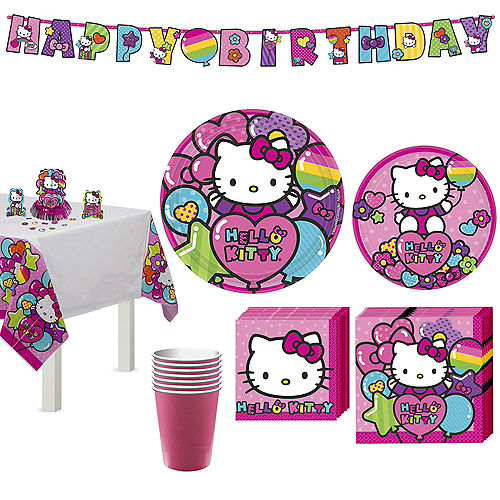 Rainbow Hello Kitty Tableware Party Kit for 8 Guests Image #1