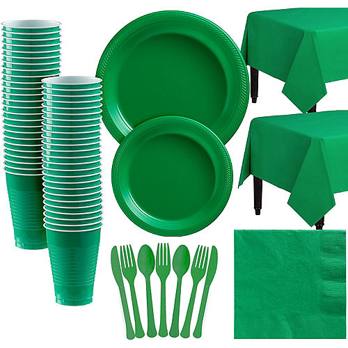 Festive Green Plastic Tableware Kit for 50 Guests Image #1