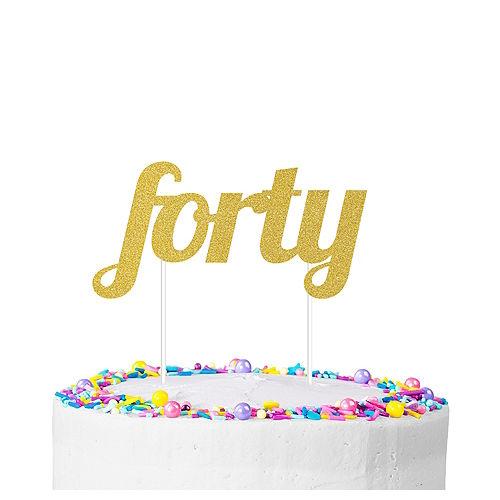 Gold Glitter Forty Cake Topper Image #1