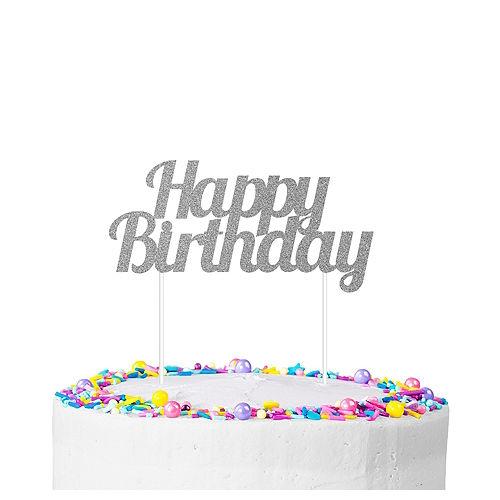 Silver Glitter Happy Birthday Cake Topper Image #1