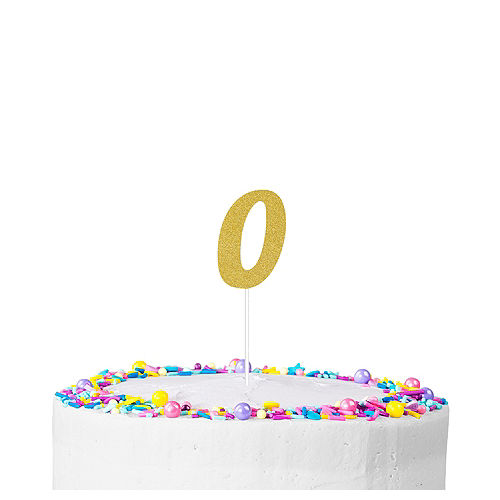 Gold Glitter Number 0 Cake Topper Image #1