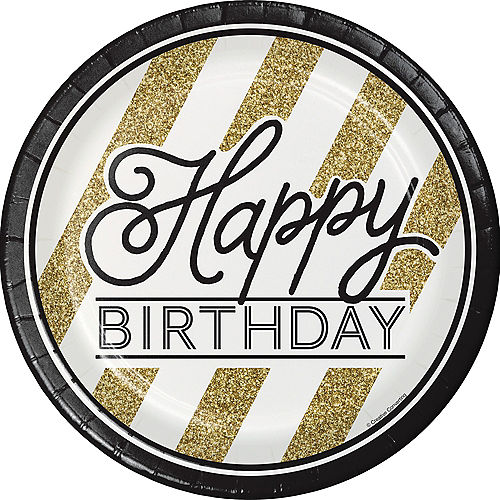 White & Gold Striped Happy Birthday Lunch Plates 8ct Image #1