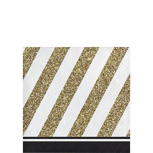 White & Gold Striped Beverage Napkins 16ct Image #1