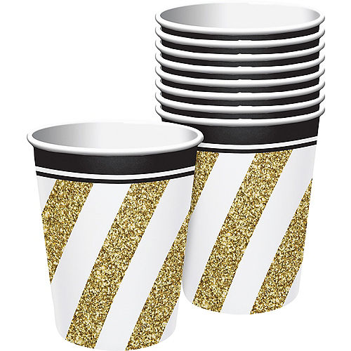 White & Gold Striped Cups 8ct Image #1