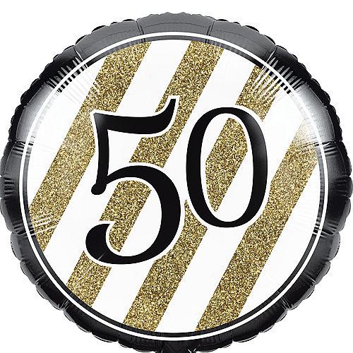 White & Gold Striped 50 Balloon Image #1