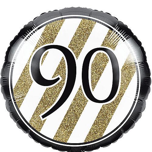 White & Gold Striped 90 Balloon Image #1