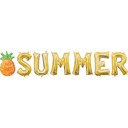 Air-Filled Gold Summer Letter Balloons with Pennant Banner Image #1