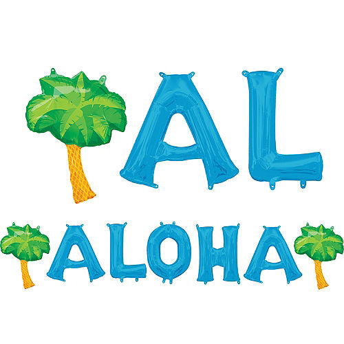 Air-Filled Blue Aloha Letter Balloons with Pennant Banner, 13in Image #1
