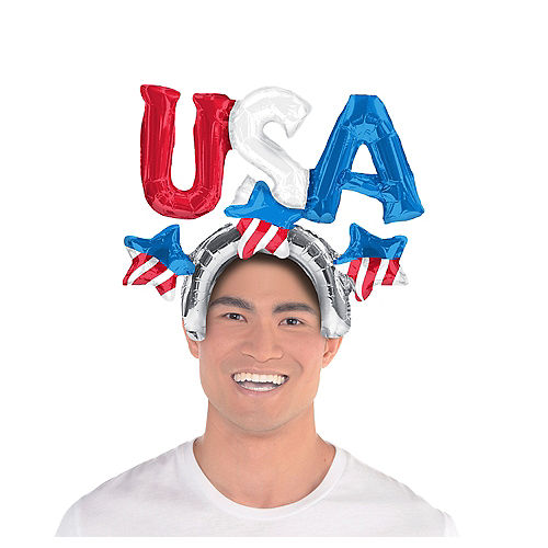 Air-Filled Patriotic USA Balloon Hat, 2in Image #1