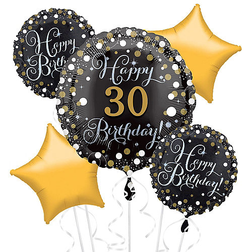 Prismatic 30th Birthday Balloon Bouquet 5pc Image #1