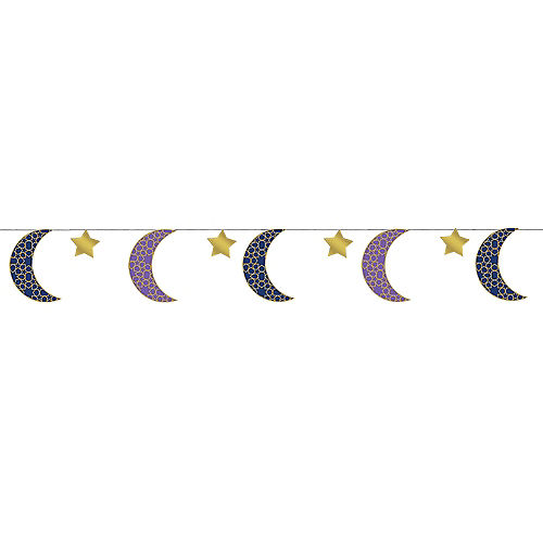 Crescent Moon & Star Eid String Decorations 6ct Image #1