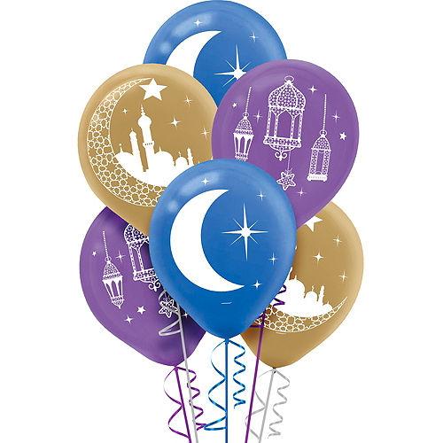 Crescent Moon & Mosque Eid Balloons 15ct Image #1