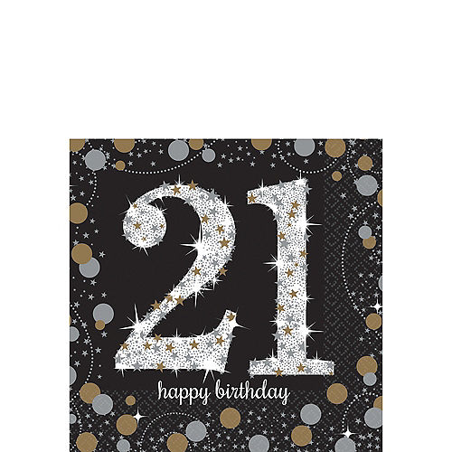 21st Birthday Beverage Napkins 16ct - Sparkling Celebration Image #1