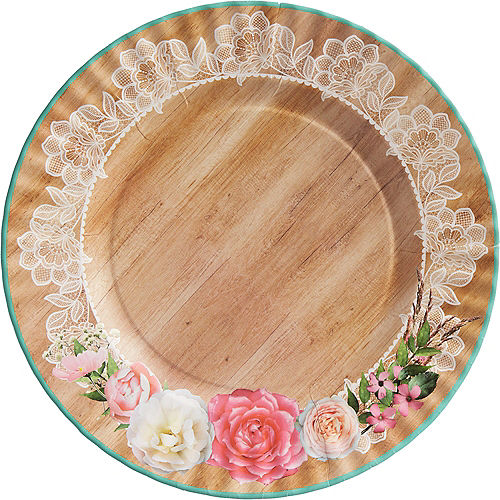 Floral & Lace Rustic Wedding Dinner Plates 8ct Image #1