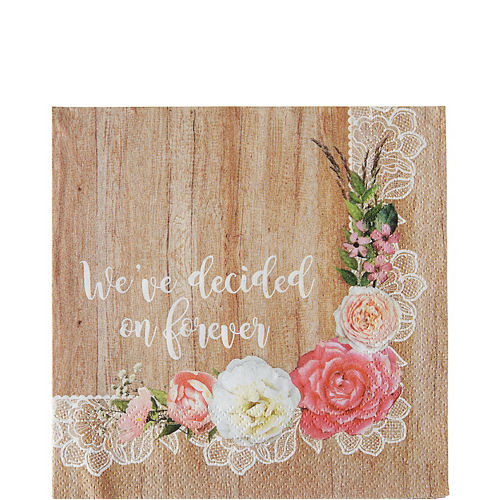 Floral & Lace Rustic Wedding Lunch Napkins 16ct Image #1