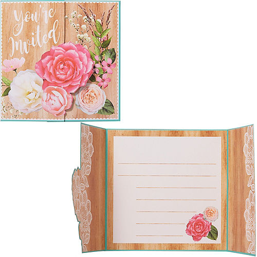 Floral & Lace Rustic Wedding Invitations 8ct Image #1