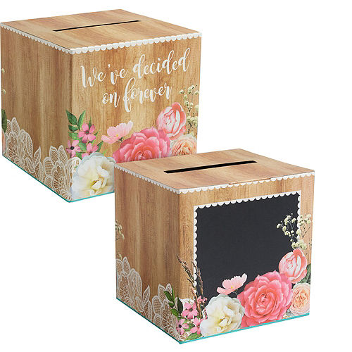 Floral & Lace Rustic Wedding Card Holder Box Image #1