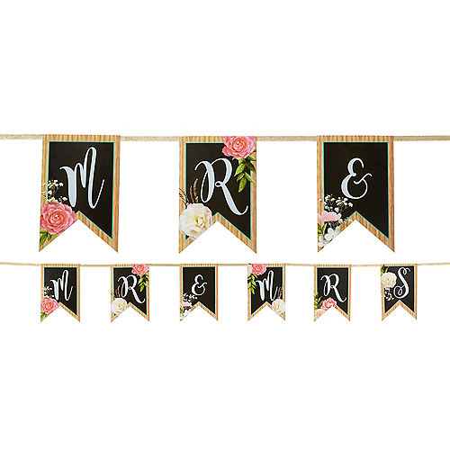 Floral & Lace Rustic Wedding Pennant Banner Image #1