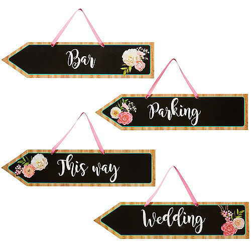 Floral & Lace Rustic Wedding Arrow Signs 4ct Image #1