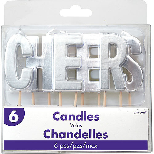 Silver Cheers Toothpick Candle Set 6pc Image #1