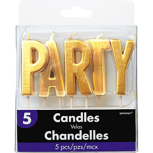 Gold Party Toothpick Candle Set 5pc Image #1