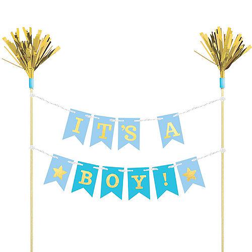 Blue Baby Shower Pennant Banner Cake Topper Image #1