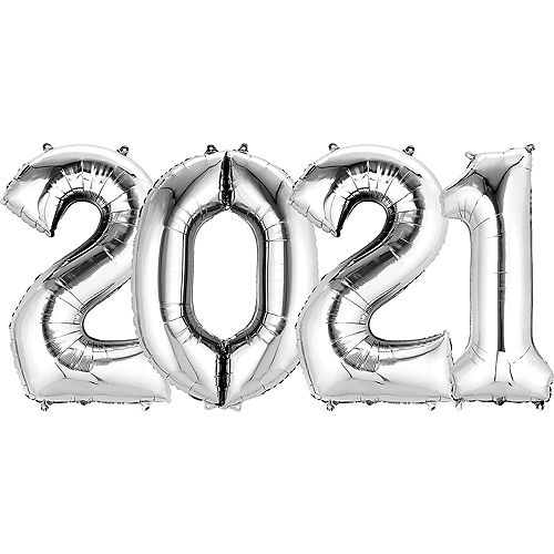 Giant Silver 2021 Number Balloon Kit Image #1