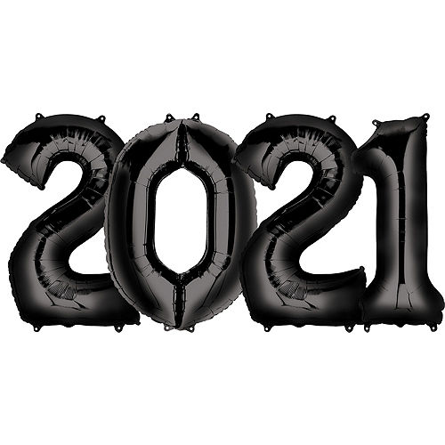 Giant Black 2021 Number Balloon Kit Image #1