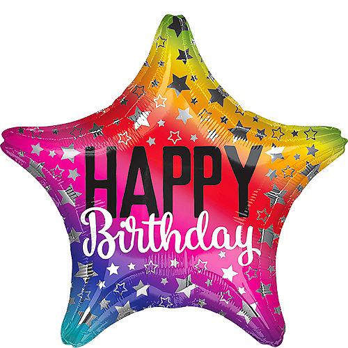 Rainbow Star Birthday Balloon 19 1/2in Image #1