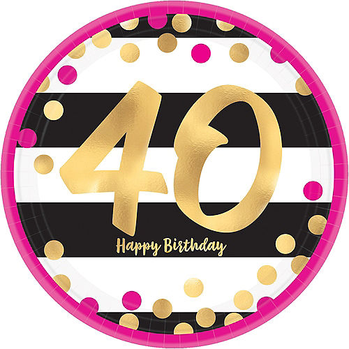 Metallic Pink & Gold 40th Birthday Lunch Plates 8ct Image #1