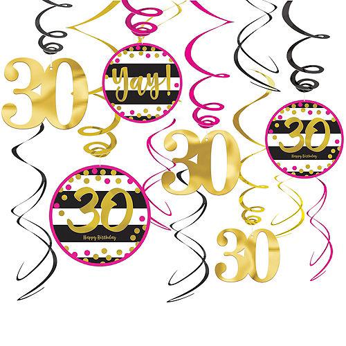 Pink & Gold 30th Birthday Swirl Decorations 12ct Image #1