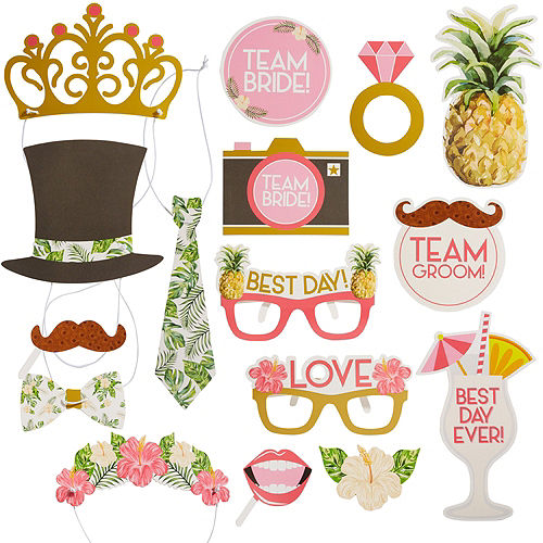 Tropical Wedding Photo Booth Props 16ct Image #1