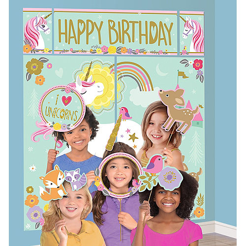 Magical Unicorn Scene Setter with Photo Booth Props Image #1