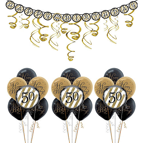 White & Gold Striped 50th Birthday Decorating Kit with Balloons Image #1