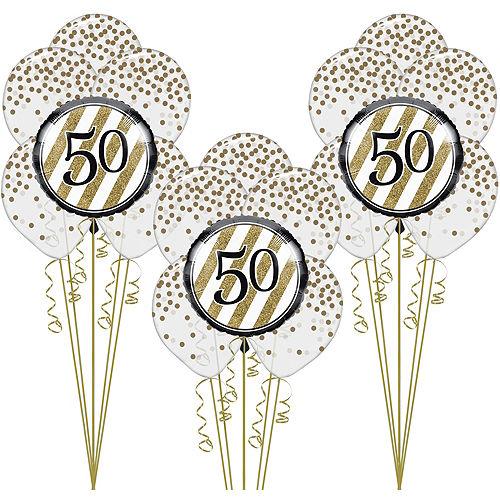 White & Gold 50th Happy Birthday Balloon Kit Image #1