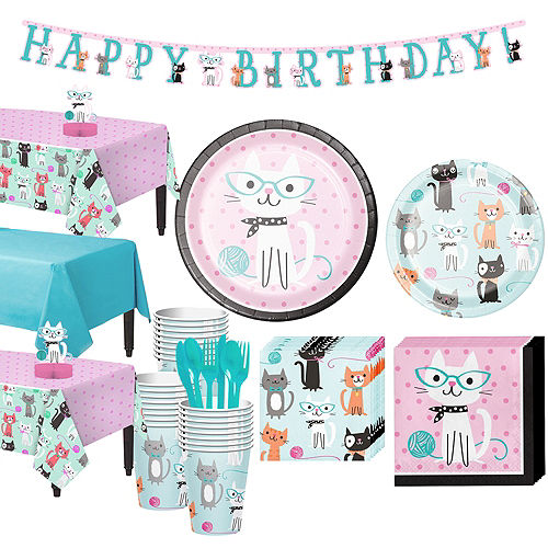 Purrfect Cat Tableware Party Kit for 24 Guests Image #1