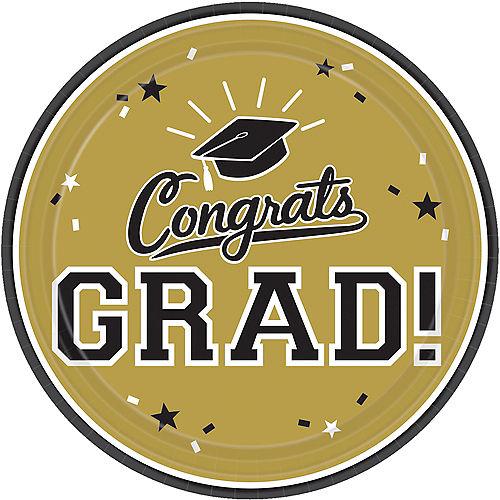 Gold Congrats Grad Lunch Plates 18ct Image #1