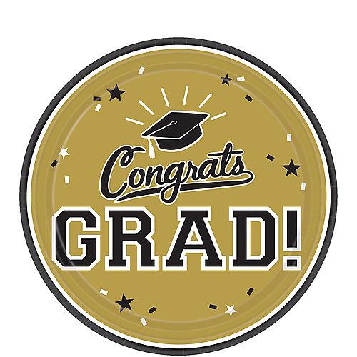 Gold Congrats Grad Dessert Plates 18ct Image #1