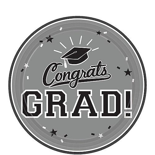 Silver Congrats Grad Dessert Plates 18ct Image #1
