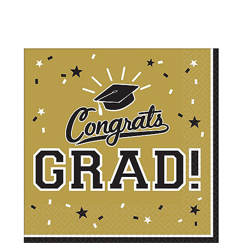 Gold Congrats Grad Lunch Napkins 36ct Image #1