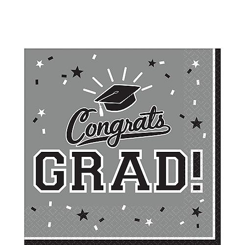Silver Congrats Grad Lunch Napkins 36ct Image #1