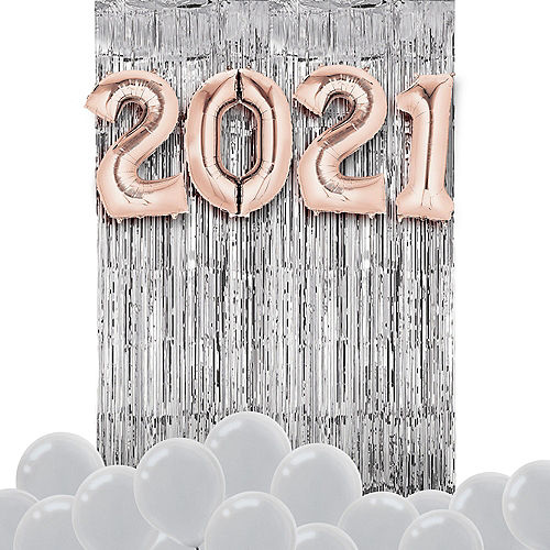 Air-Filled Rose Gold & Silver 2021 Balloon Backdrop Image #1