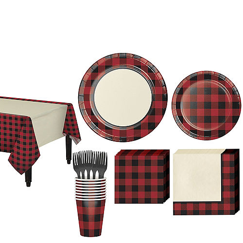 Buffalo Plaid Tableware Kit for 16 Guests Image #1