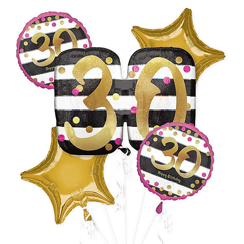 Pink & Gold 30th Birthday Balloon Bouquet 5pc Image #1