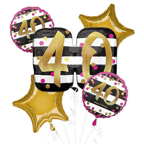 Pink & Gold 40th Birthday Balloon Bouquet 5pc Image #1