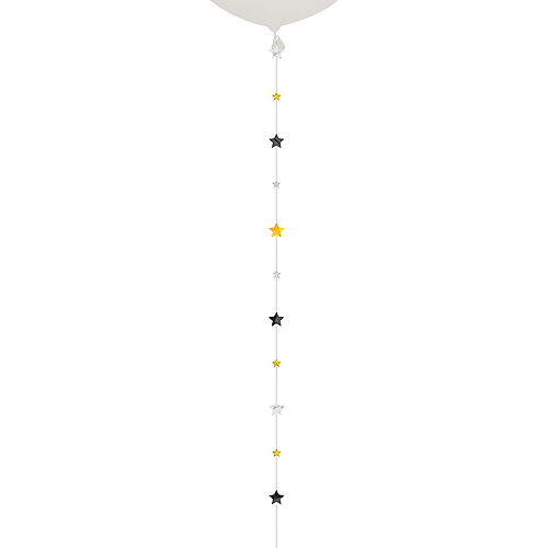 Black, Gold & Silver Stars Balloon Tail Image #1